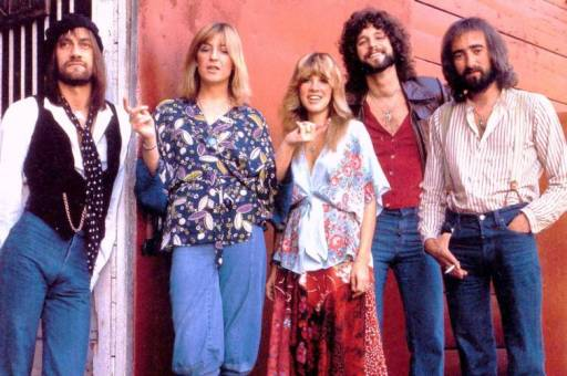 In all their bearded and feathered hair glory: Fleetwood, McVie, Nicks, Buckingam, and McVie