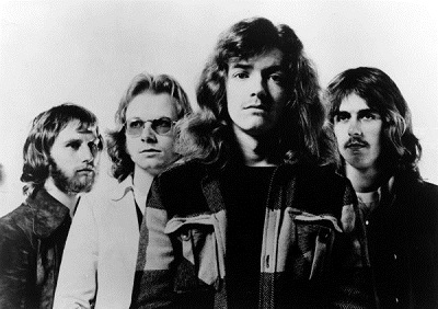 The band in the early '70s: Steve Upton, Andy Powell, Martin Turner, and Ted Turner