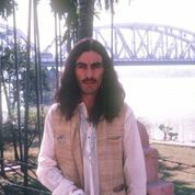 George Harrison at the Kali Temple in India.
