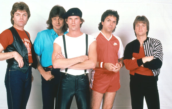 "The ""Eye of the Tiger"" lineup of Survivor: Stephan Ellis (bass), Jim Peterik (vocals/guitar), Dave Bickler (vocals), Marc Droubay (drums), and Frankie Sullivan (guitar)."