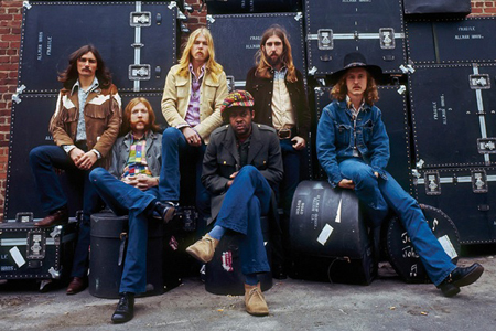 The Allmans live at Fillmore East: Dickey Betts, Duane Allman, Gregg Allman, Jaimoe, Berry Oakley and Butch Trucks.