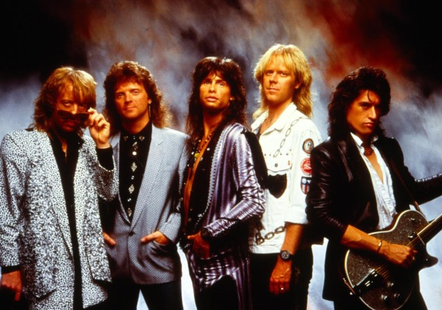 Aerosmith had a big comeback in the '80s, thanks partially to MTV and some popular videos: Whitford, Kramer, Tyler, Hamilton, and Perry.