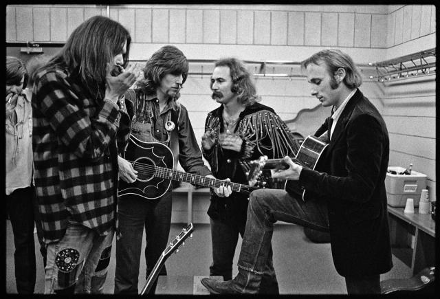 CSNY in dressing room, 1970, Minnesota (photo by Henry Diltz)